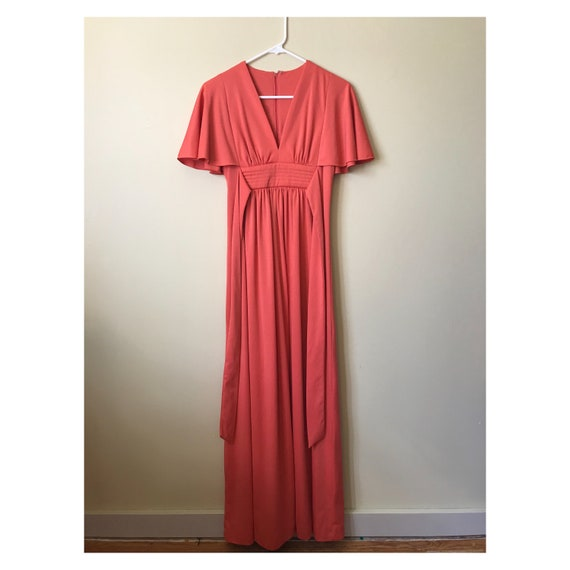 coral Flutter Sleeve Maxi Sz S