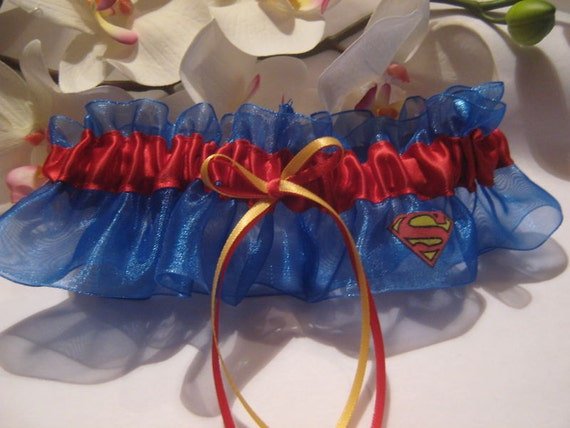Ivory Superman Wedding Keepsake Garter Plus Size Available