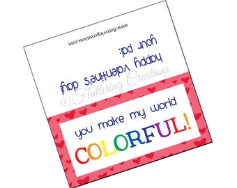 You Make My World Colorful - Crayons - Valentine's Day Treat Bag Topper