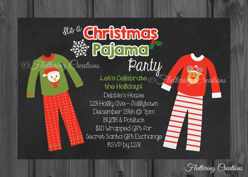27d66fb4c5 Christmas Pajama Party Invitation
