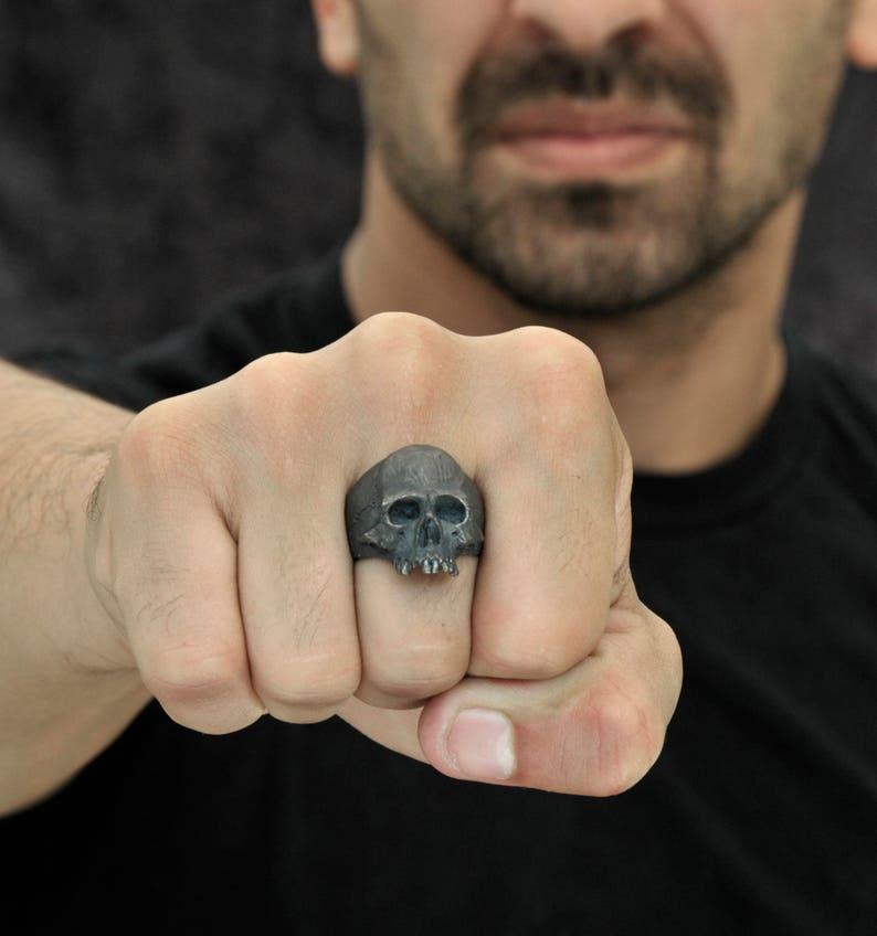 Half Jaw Skull Ring Biker ring Rocker ring Goth ring, Silver Skull Ring