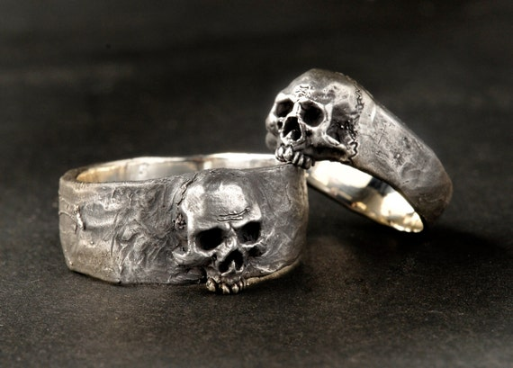 Silver Skull Wedding Ring Set Solid Sterling Silver Wedding Etsy