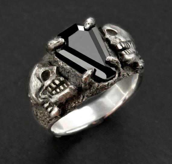 Coffin Ring2 Coffin Gem RingSkull RingSilver skull ring  93d29afba8
