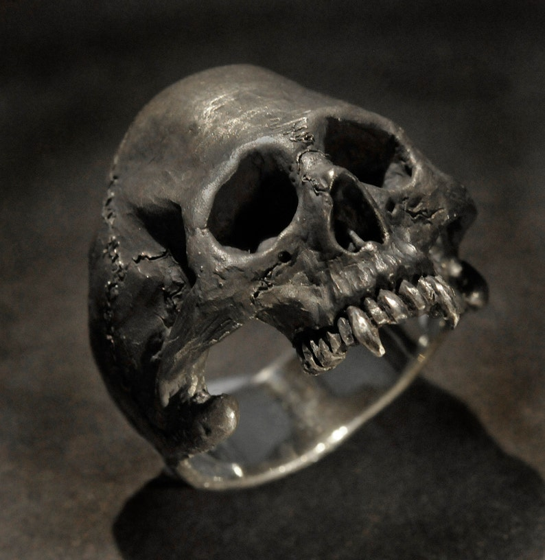 Bague Vampire Homme De En Pour Tête Ring MortEtsy Argent Skull VSzpMU