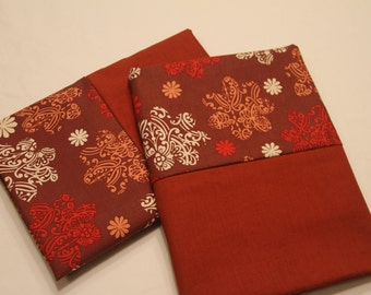 Rust Colored Floral Motif Queen/Standard Pillowcases