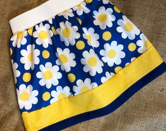 Blue/Yellow Flower Ensley Skirt - Fits 3-5yr
