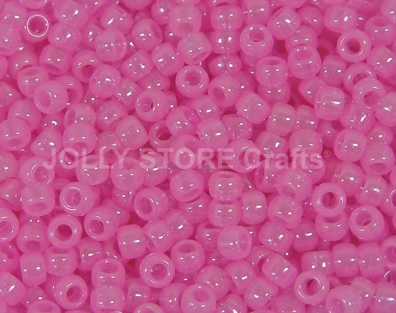 500 Pink Glow 9x6mm Barrel Pony Beads Made in the USA