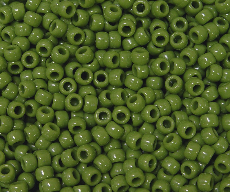 Flat Green 9x6mm Pony Beads made in USA 500pc for kids crafts jewelry