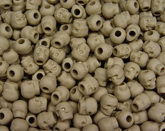 Khaki Tan Skulls pony beads for paracord crafters jewelry makers