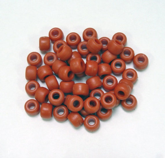 500 Hyacinth Orange Transparent 9x6mm Barrel Pony Beads Made in the USA