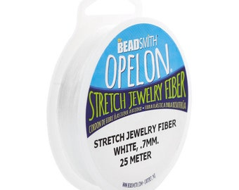 Opelon Stretch Jewelry Fiber, White, 0.7 millimeters x 25 meters