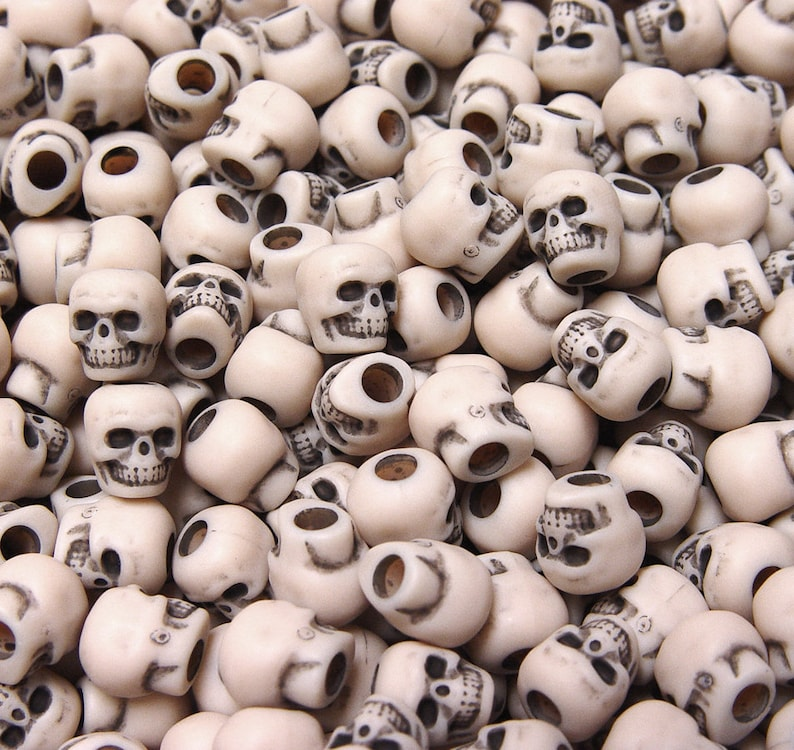 100 Khaki color Skull Pony Beads for halloween crafts paracord jewelry making