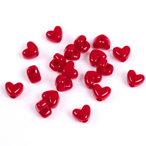 Red Heart shaped Pony Beads horizontal hole made in USA kids crafts jewelry
