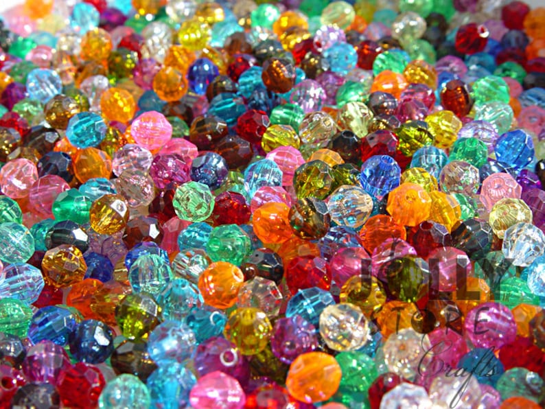 500 piece bag 8mm Round Faceted Beads Multi Translucent Colors