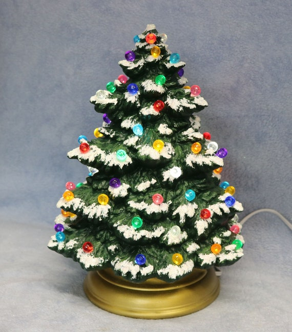 Lighted Christmas Tree.Ceramic Lighted Christmas Tree Hand Painted Lighted Tree Snow Covered Lighted Tree Tree With Multi Colored Lights Ceramic Tree