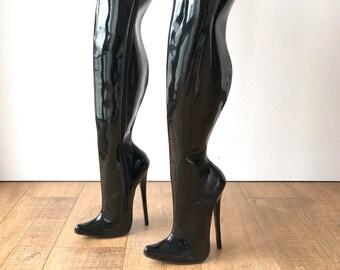 RTBU CHRIS Hard Shaft Customized Crotch Hi 18cm Stiletto Boot Black Patent