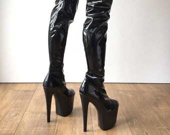 RTBU ALTO 20cm Platform Heel 80cm Crotch Boots Wet Look Patent Black