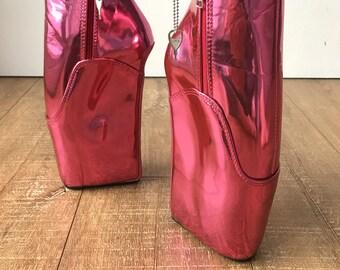 RTBU MICHELLE Ballet Wedge Lockable Hoof Sole Heelless Pointe Boot Metallic Pink