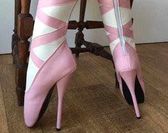 RTBU RIBBON Ballet Stiletto Pointe Boots Zipper White Pink Matte