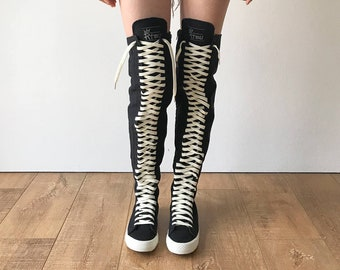 4a844354c563 RTBU Oreo 35 Hole Punk Goth Thigh Hi Canvas Laceup Zip Skateboard Sneaker  Boot