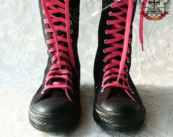 RTBU Punk emo Knee Hi Sneaker Canvas boot Noir+Hot Pink