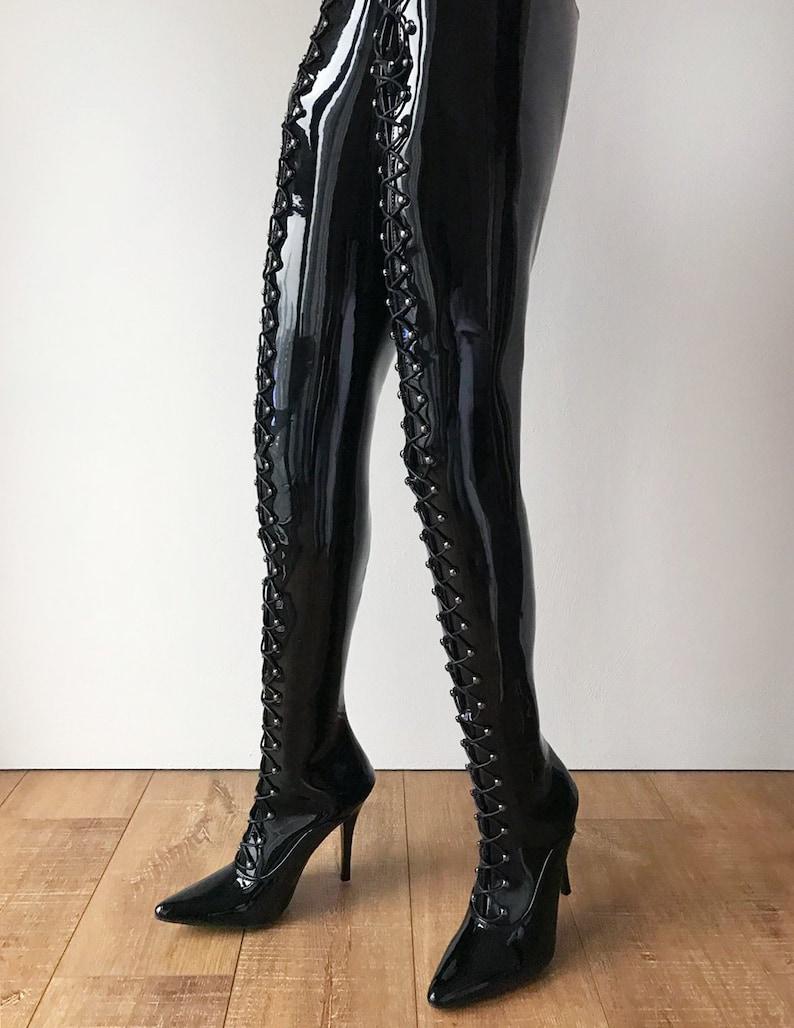 newest 4a272 74bfe RTBU LULU Crotch Hi Hard Shaft Laceup 18cm Stiletto Boots Black Patent