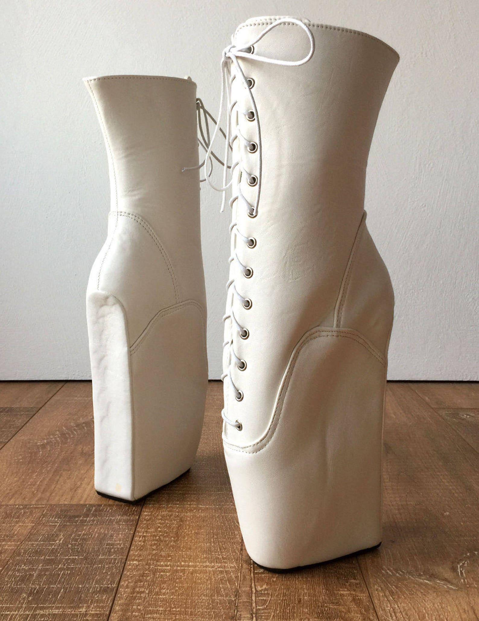 begin iii (no zip) ballet wedge hoof heelless fetish pointe training matte white