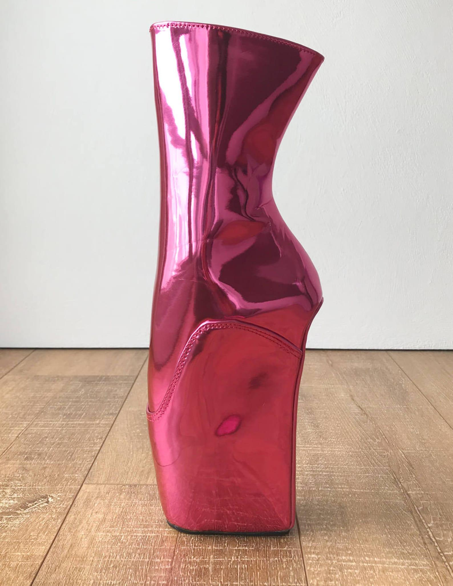 18cm mich hoof sole heelless fetish ballet wedge pointe boot metallic pink