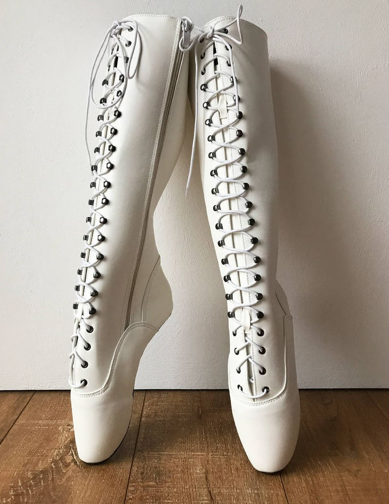 b6b5a049b78 POINTE w  Zip Heelless Lace Up Knee High Ballet Fetish Pain