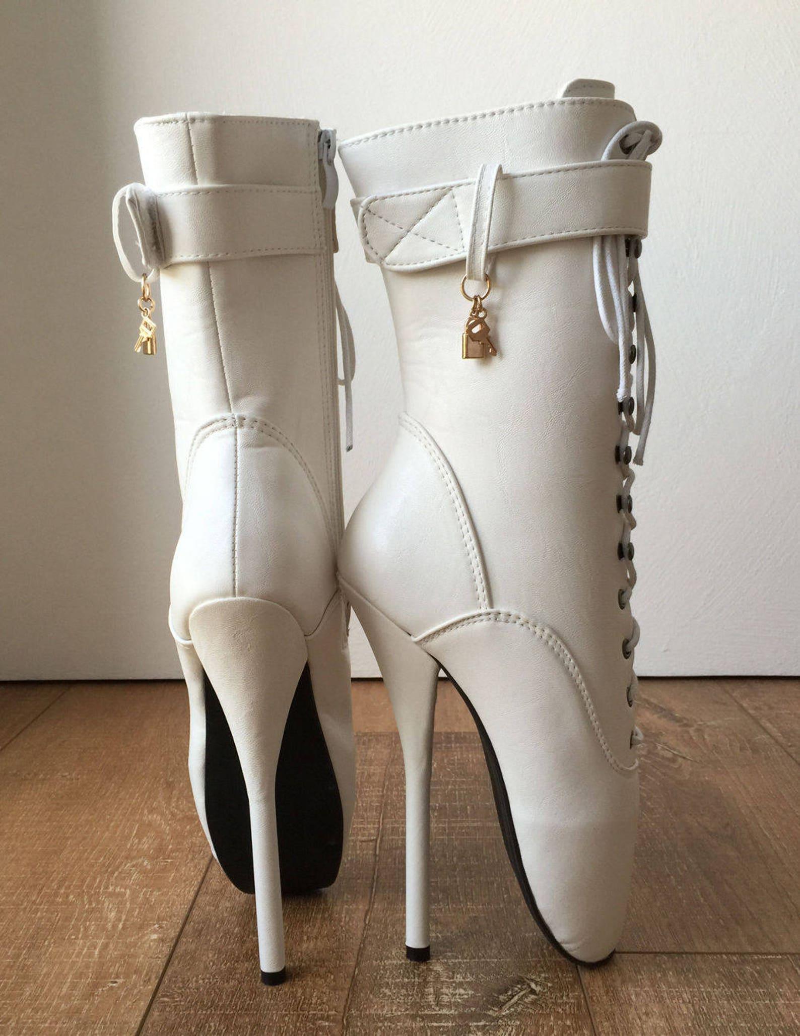 18cm fetish ballet pointe calf hi boot gold charm burlesque angel white matte