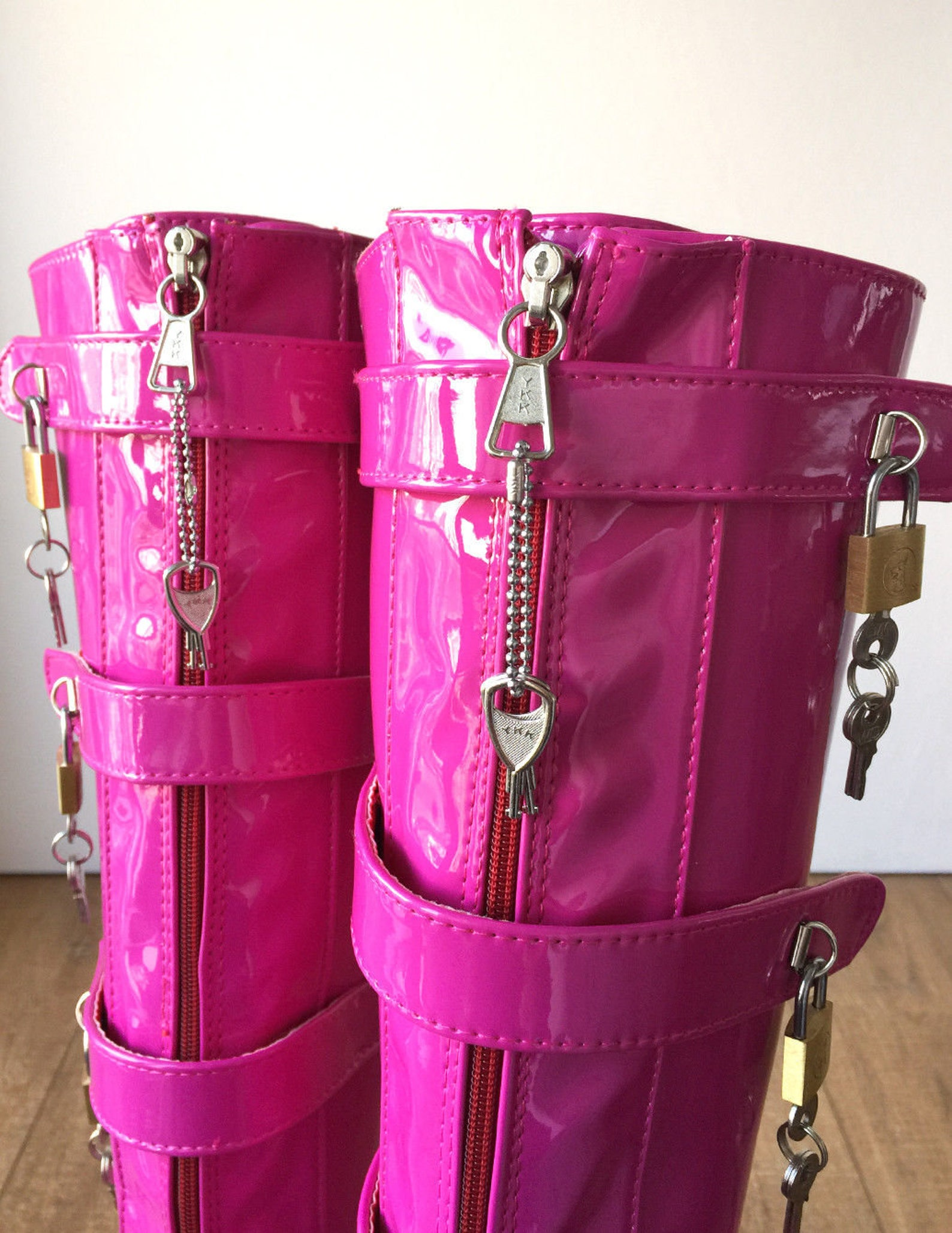 18cm 10 keys lockable beginner ballet wedge boots hoof heelless fetish hot pink