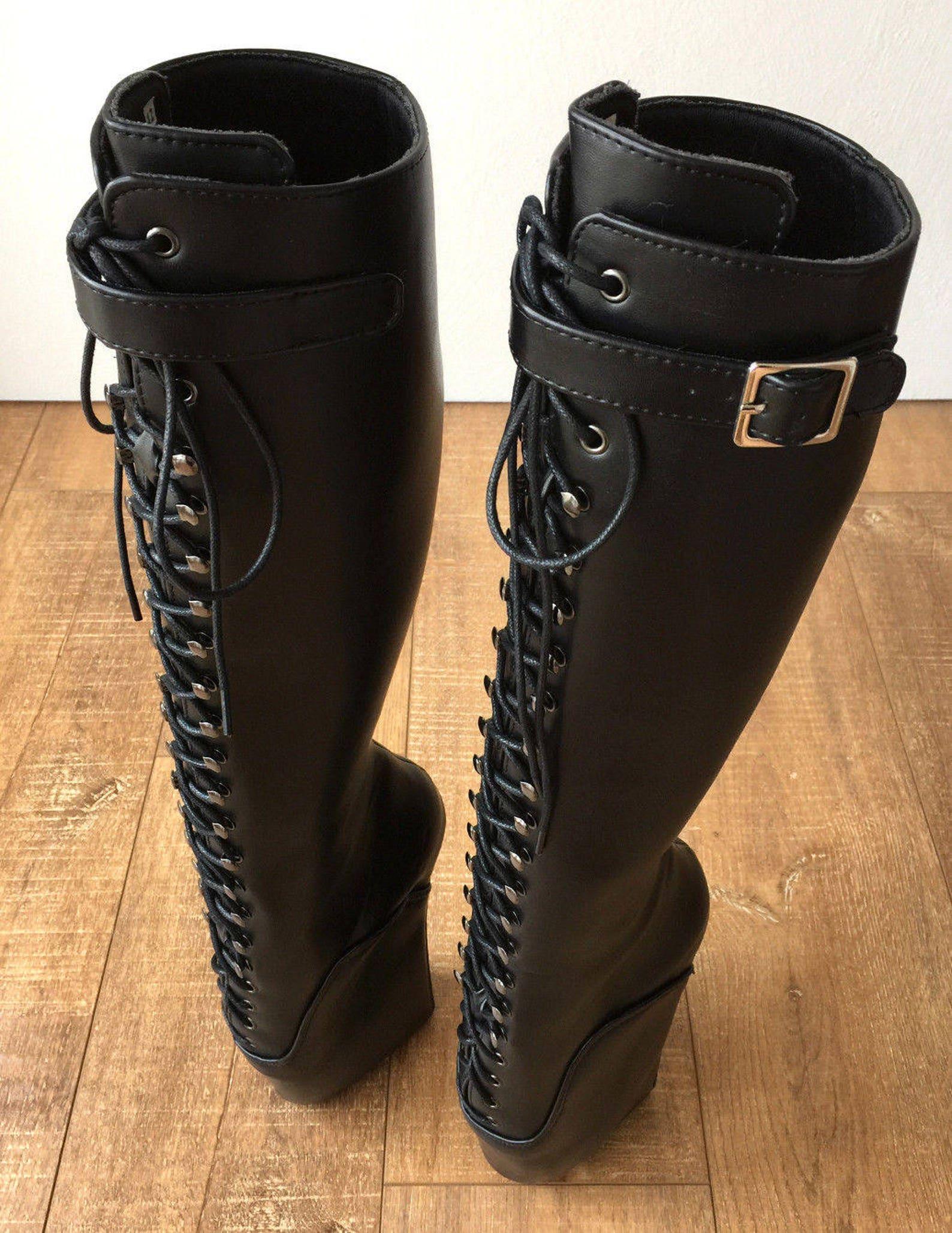 rtbu jason ballet wedge laceup knee hi boots hoof strap fetish dominatrix black