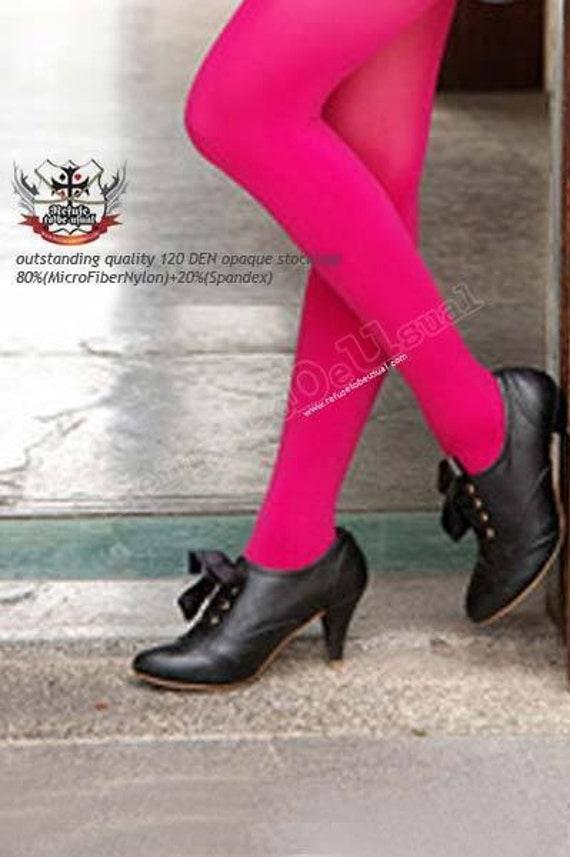 RTBU Den 120 couleur solide Opaque collants collants fluo rose  e63512c806d