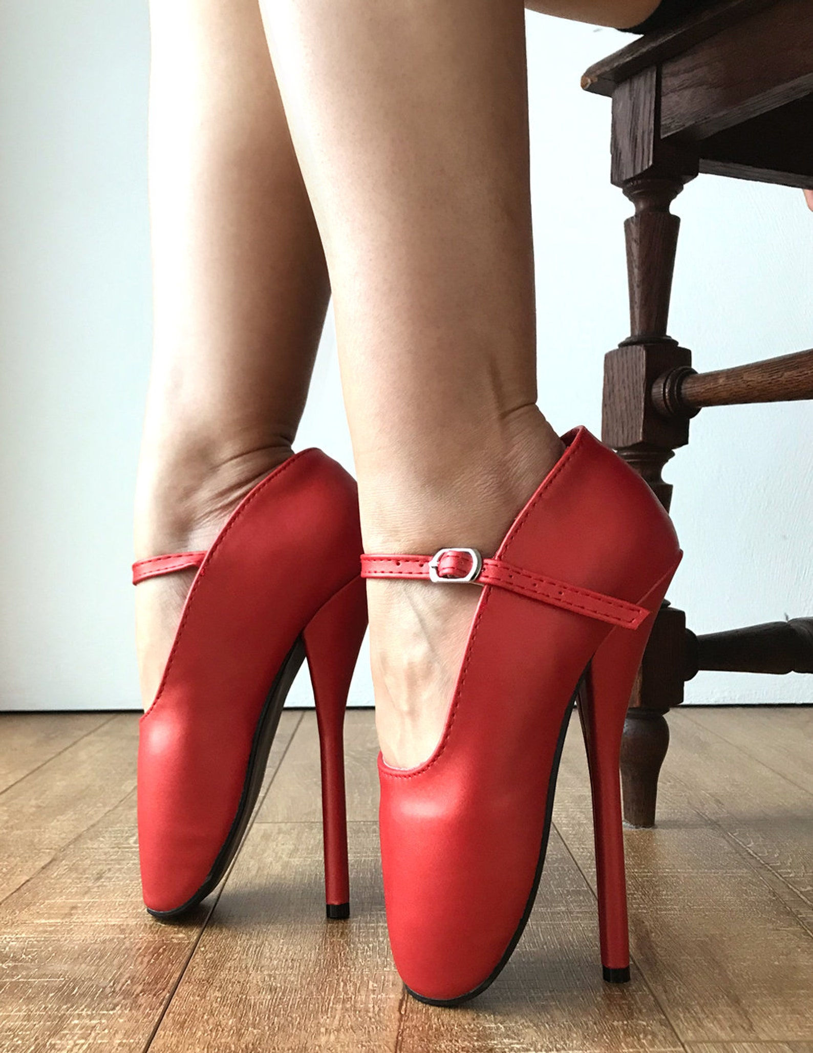 rtbu mariah burlesque strap mary janes fetish ballet pump stiletto pearl red