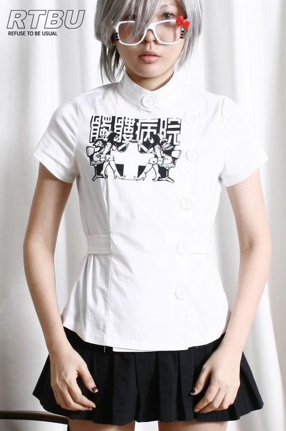 Guro Lolita Gothic Punk Skull Hospital Nurse Angel Belted Uniform Top+Arm Warmer
