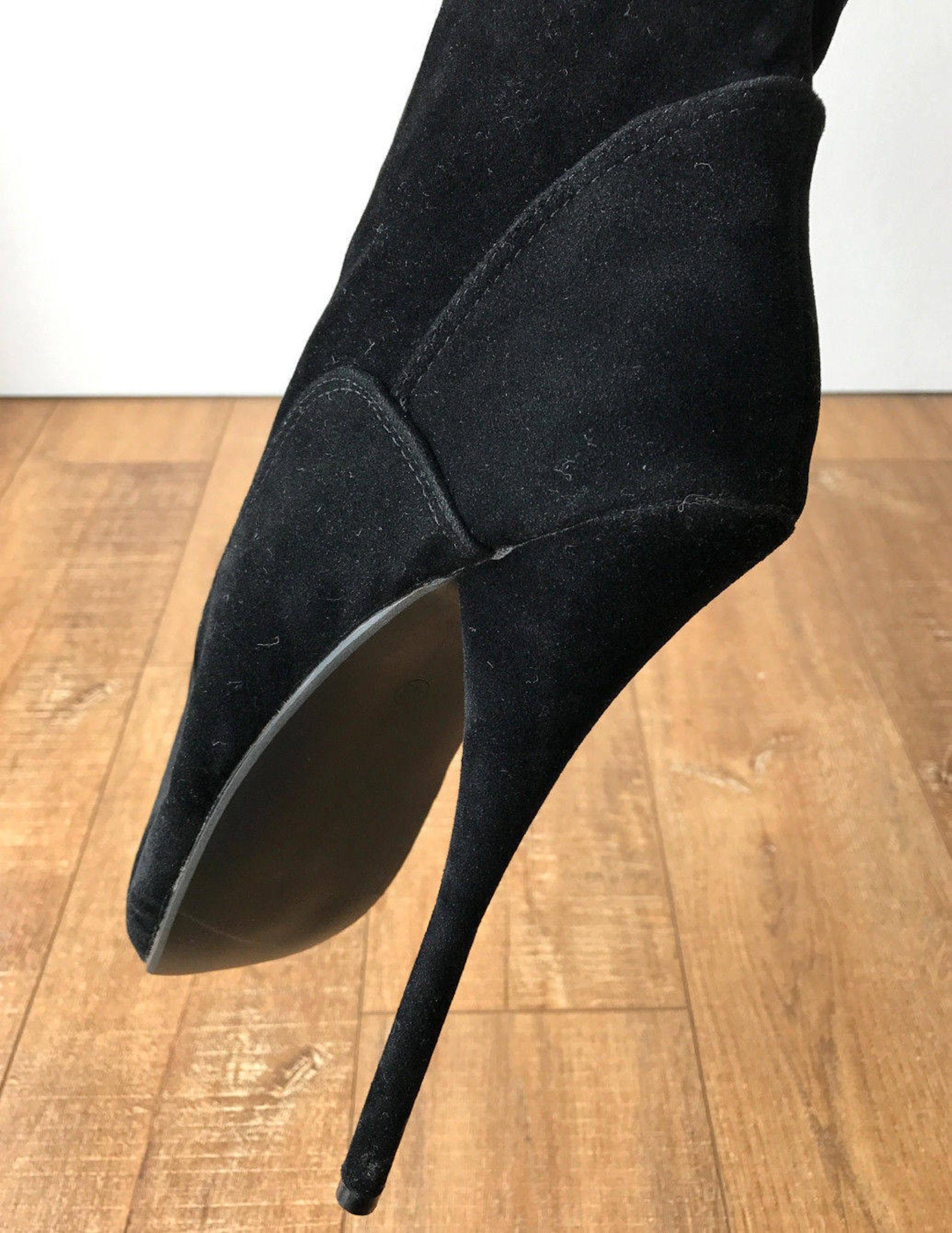 rtbu ezra narrow tongue 70cm crotch ballet stiletto custom order black suede