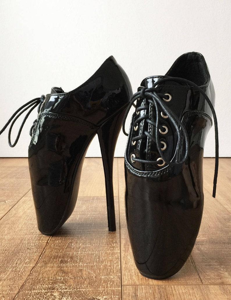 CHAPLIN A Ballet Stiletto Fetish Below Ankle Booties Oxford Pointe Black Patent
