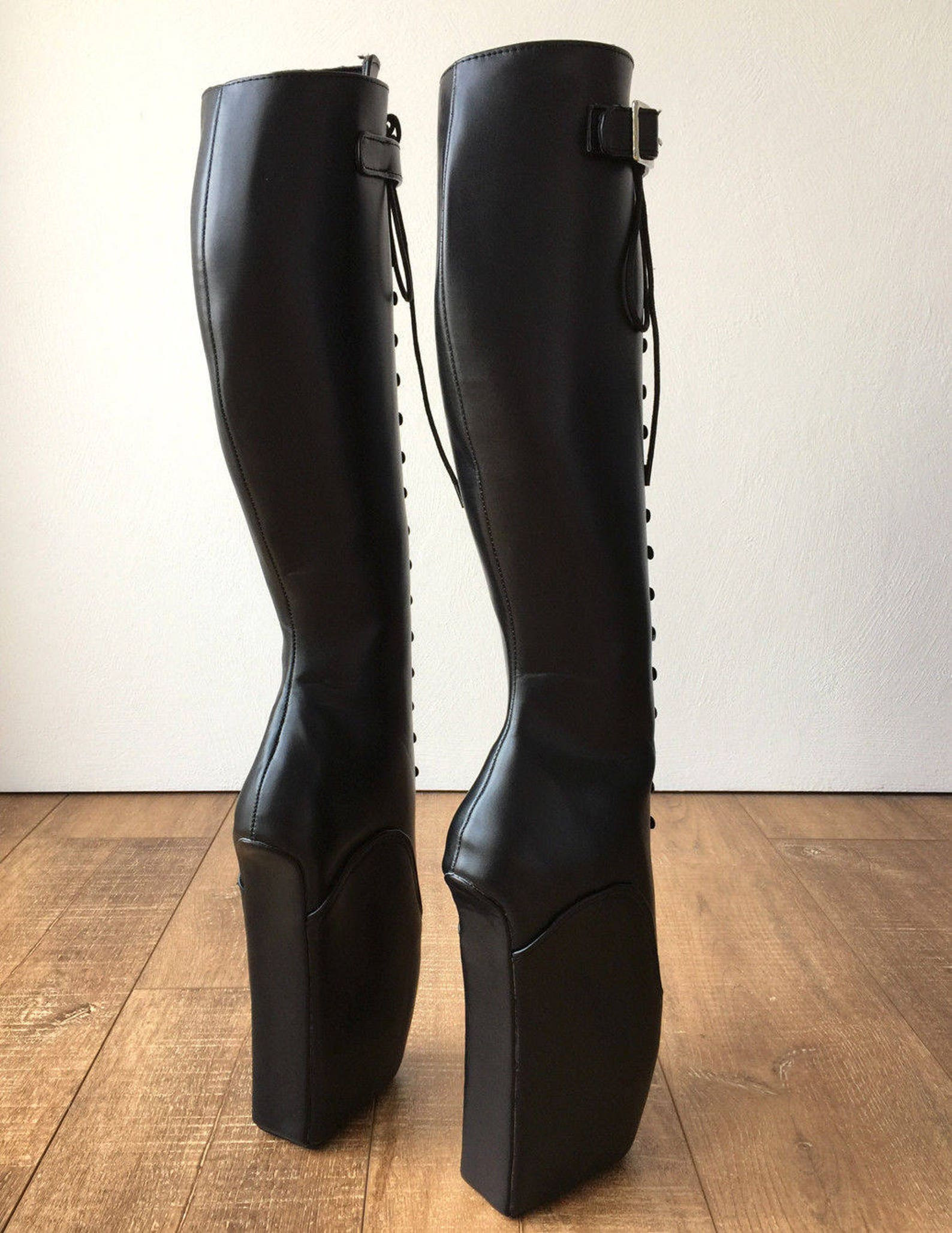 rtbu jason ballet wedge laceup knee hi boots hoof strap fetish dominatrix black