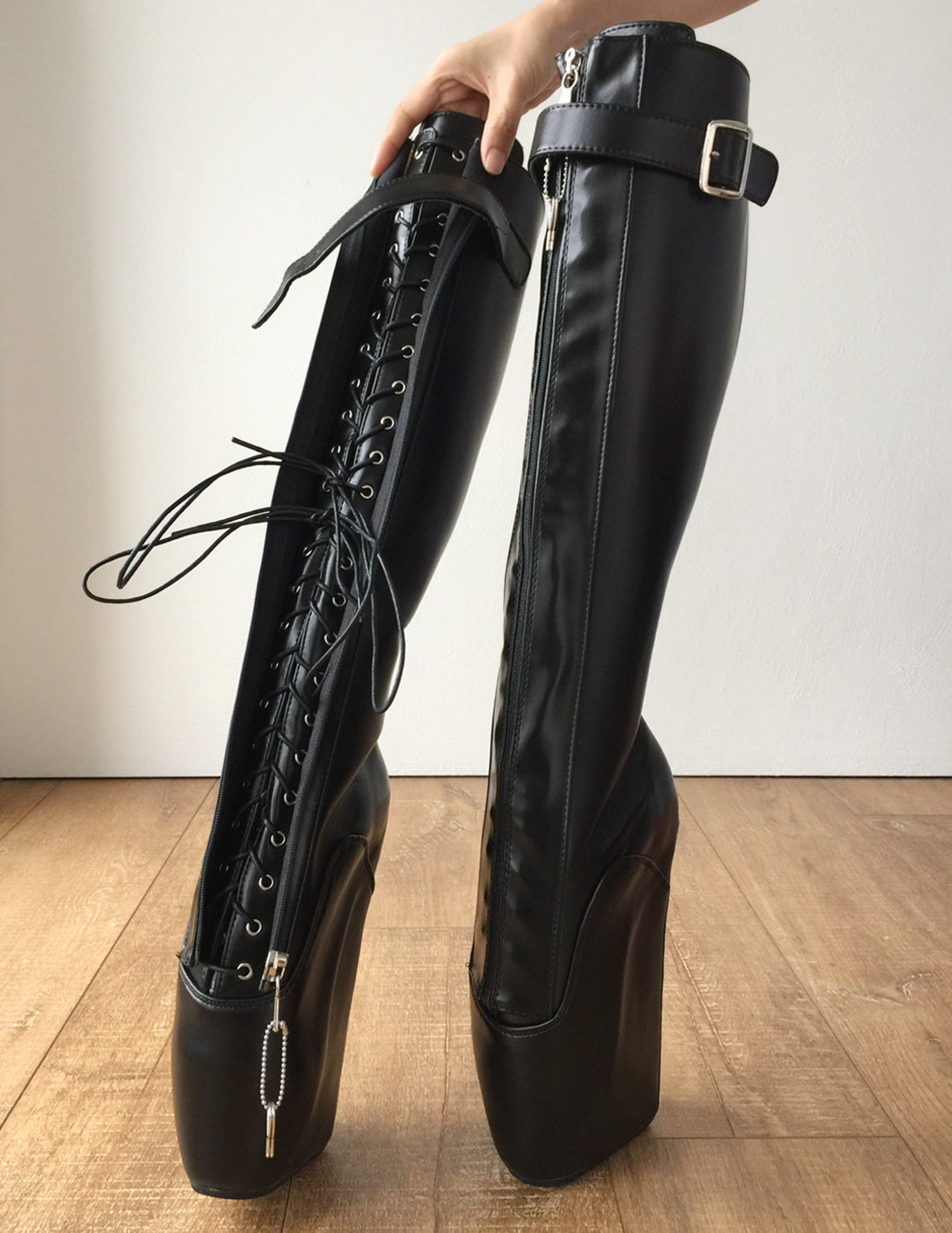 rtbu owen ballet wedge training boot hoof heelless zip strap black matte