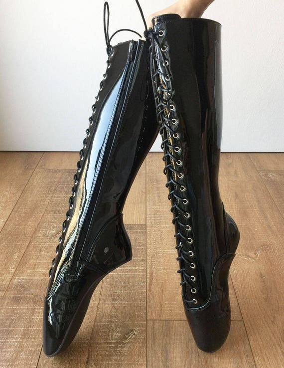 """6/"""" Black Fetish Pinup Ballet Toe Shoes Lace Up Ankle Boots Drag Queen size 14 15"""