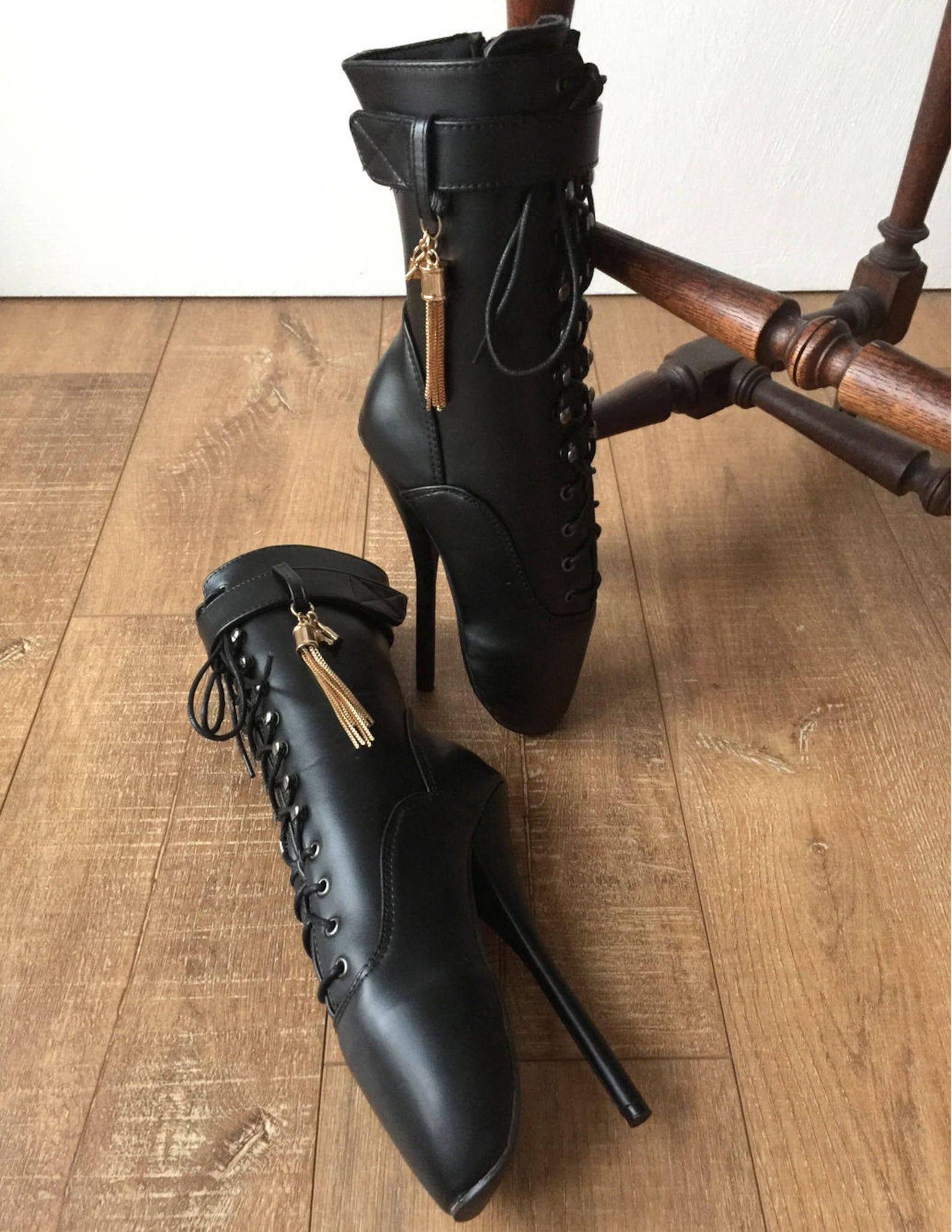 18cm fetish ballet calf hi boot gold metallic tassel charm burlesque custom made