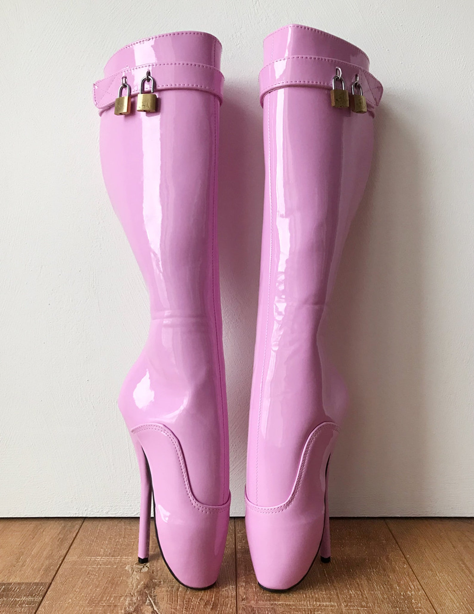 rtbu nico lace up knee hi padlock ballet fetish pain boots baby pink