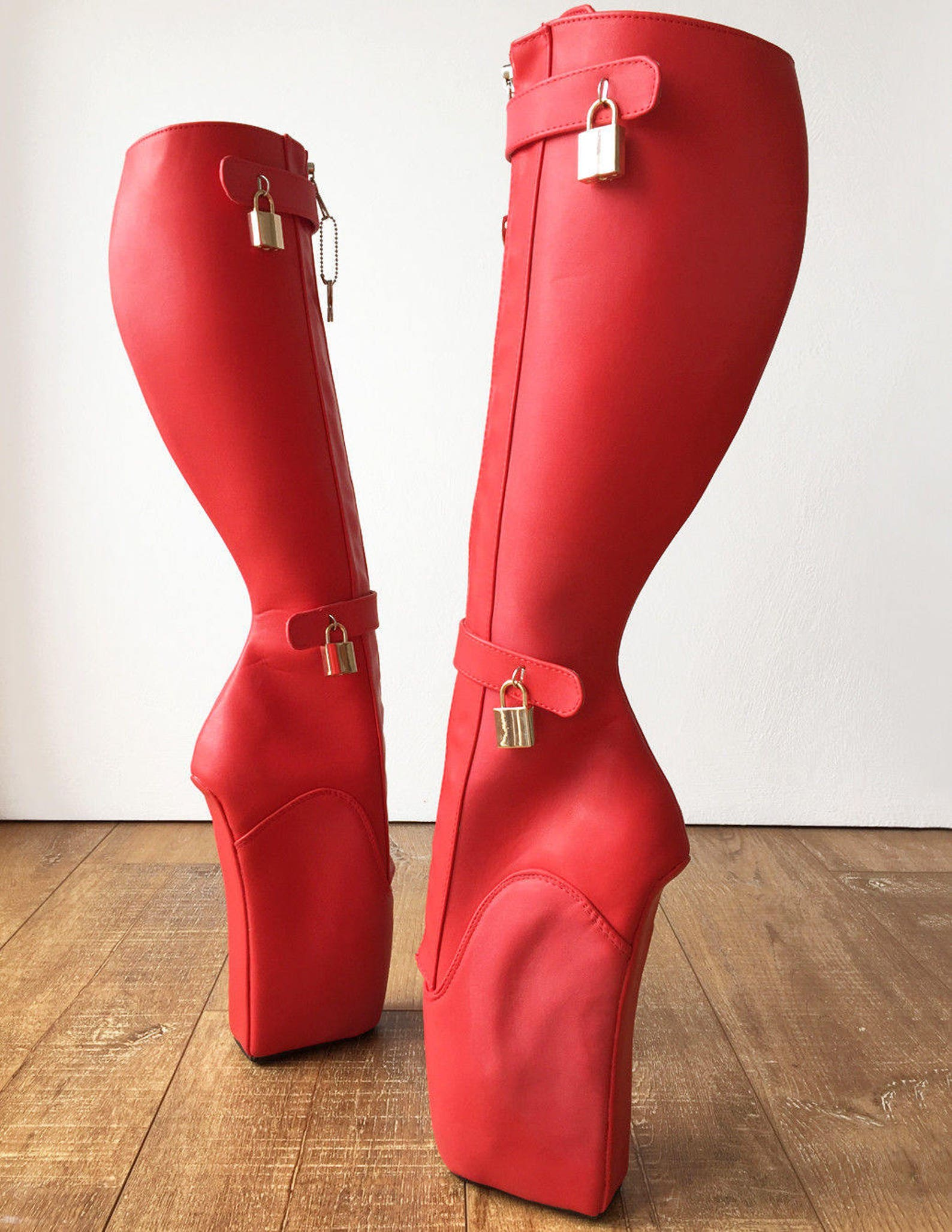 rtbu 6 keys locking zip beginner ballet wedge boots fetish dominatrix red matte