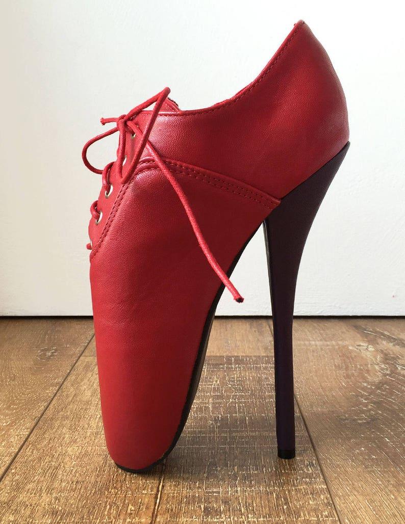 7c281e6a43a CHAPLIN A Ballet Stiletto Fetish Oxford Pointe Bootie 2 Tone Contrast Red  Purple