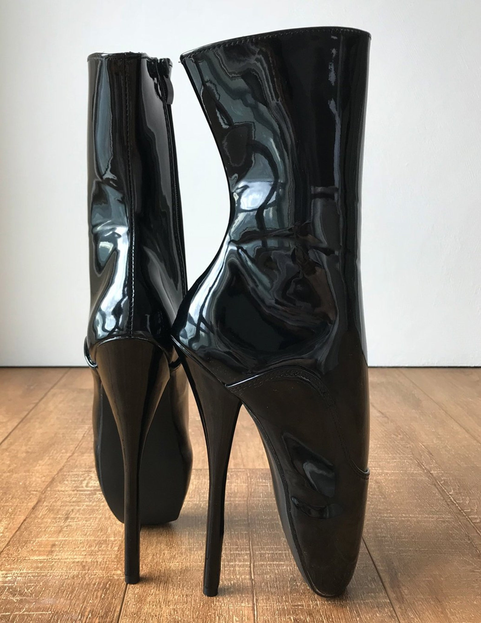 rtbu jean 18cm fetish goth punk slave punk ballet boots patent black