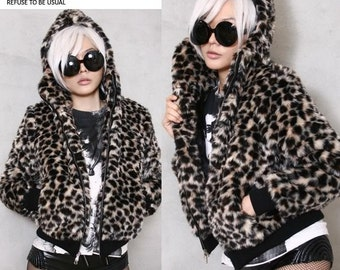 RTBU Punk Rocker Leopard Animal Print Warm Faux Fur Furry Hi Collar Mask Jacket Hooded Parka