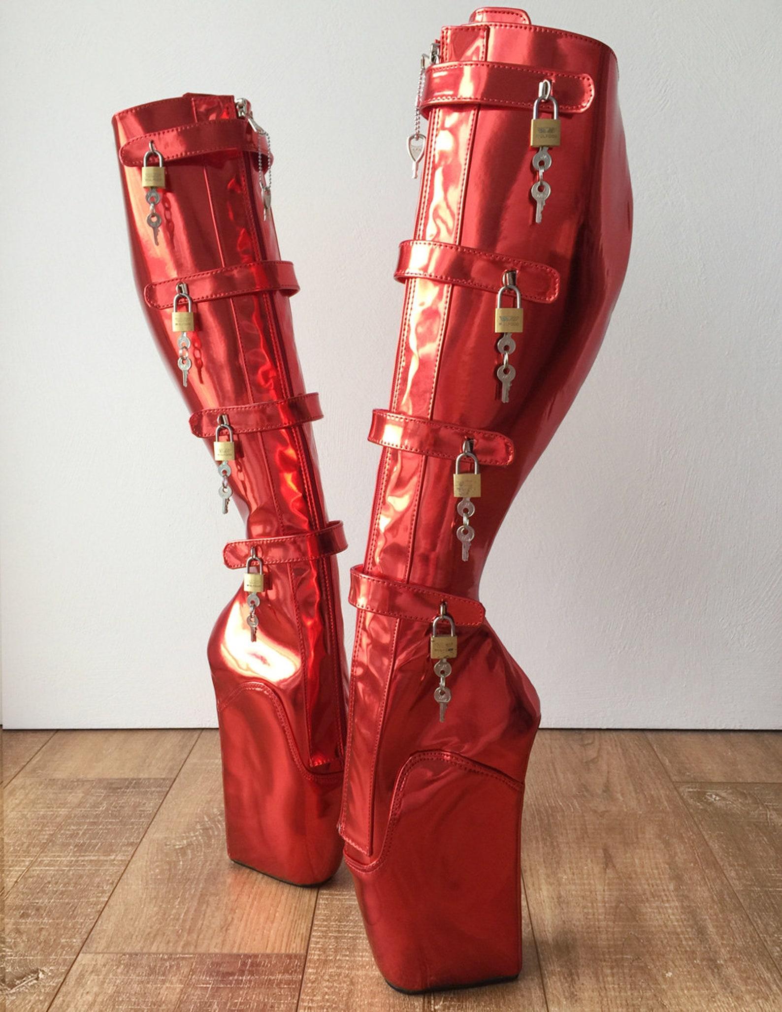 18cm 10 keys lockable beginner ballet wedge boot hoof heelless red metallic