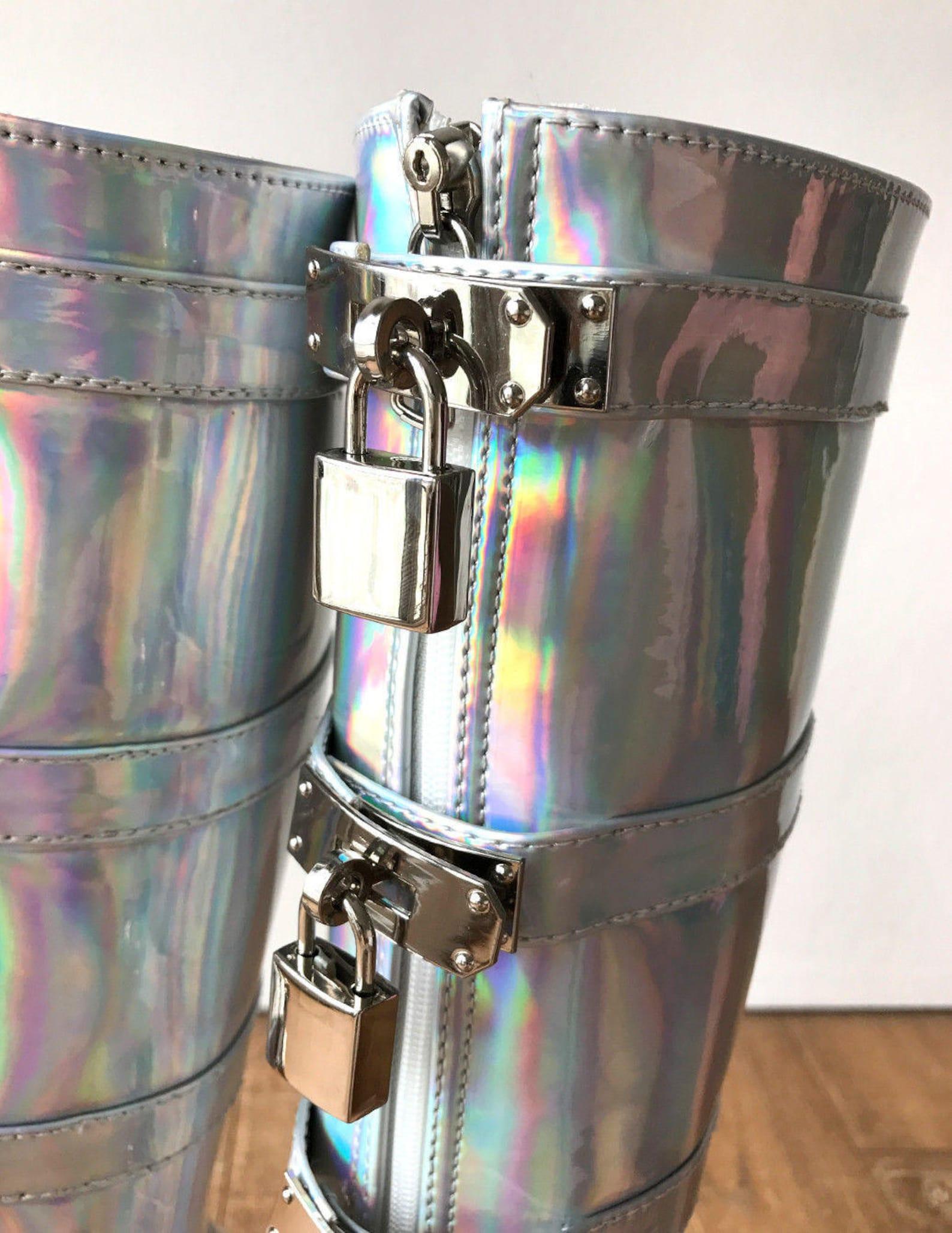 18cm diva lockable beginner ballet wedge boots hoof heelless fetish holographic