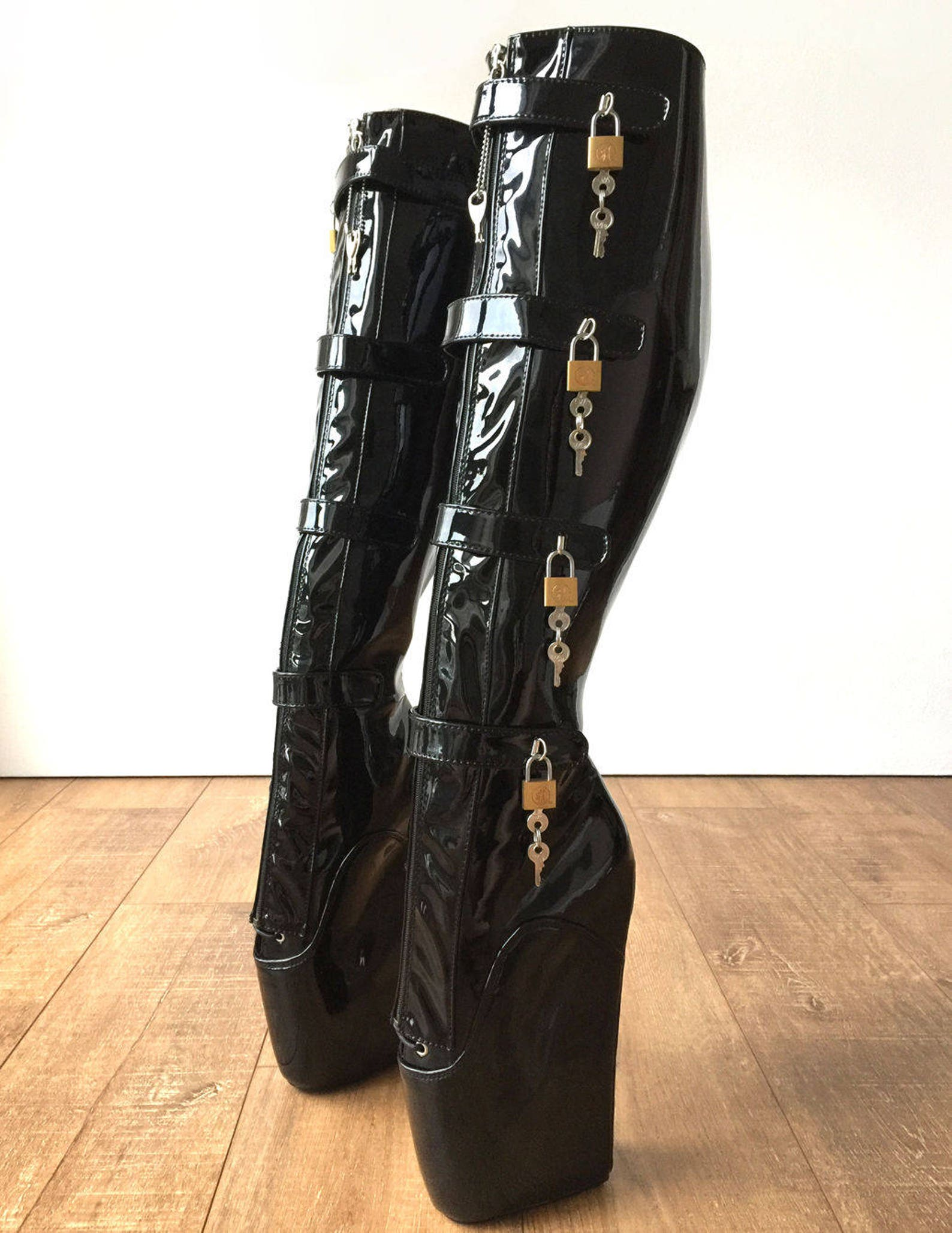 18cm 10 keys lockable beginner ballet wedge boots hoof heelless fetish slave