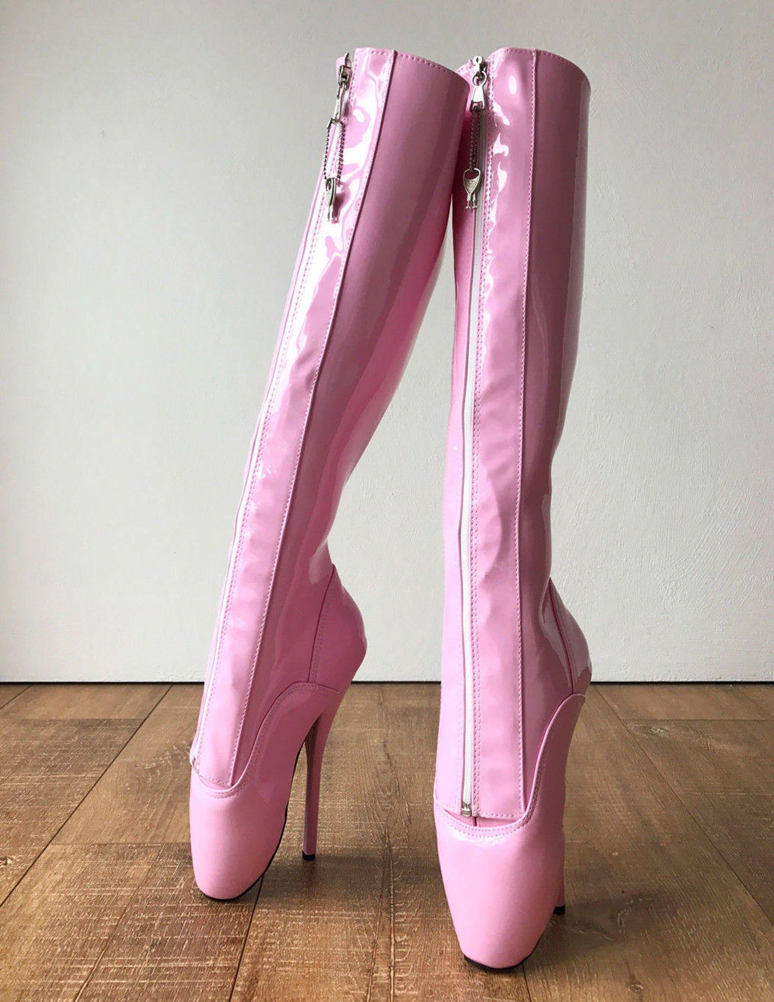 secret ii ballet pointe boots fetish pinup ballet lockable zipper light pink